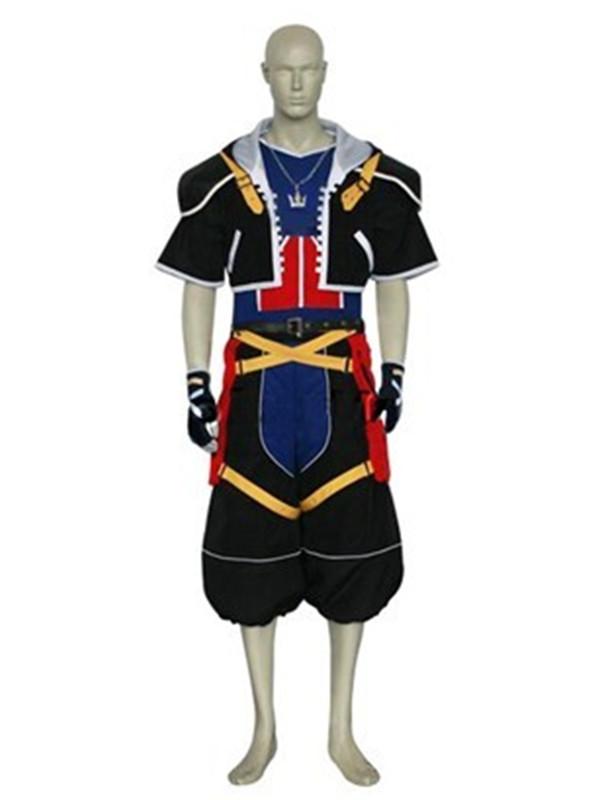Men's Kingdom Hearts Sora Cosplay Costume Tailored XXXL Black