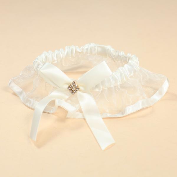 Ivory Bridal Wedding Bowknot Rhinestone Garter