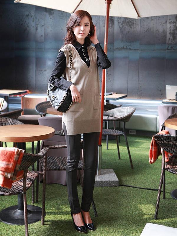 Hot Sale Top Grade Slim Fit Long Casual Pants P055 Black M