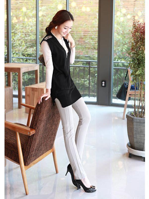 Hot Sale Top Grade Slim Fit Long Casual Pants P055 Apricot S