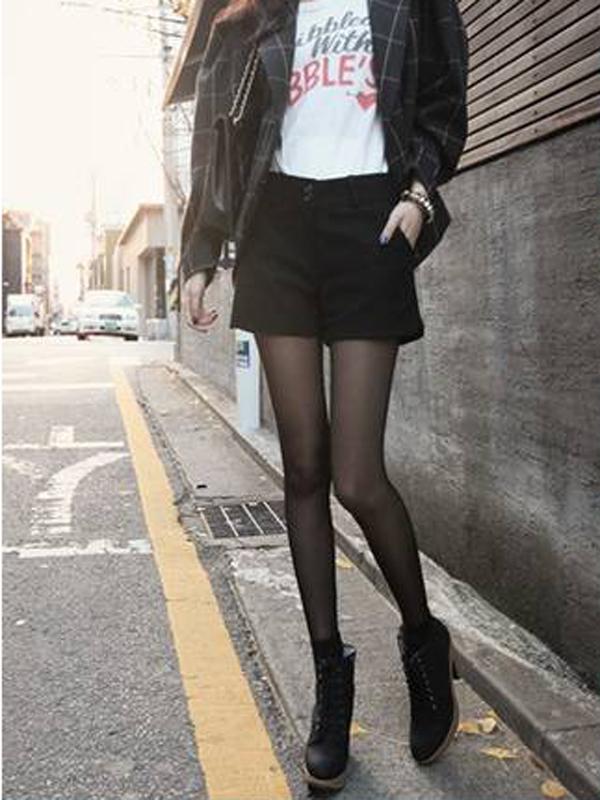 Women Shorts Trendy Top Grade Bootcut Pants P056 Black L