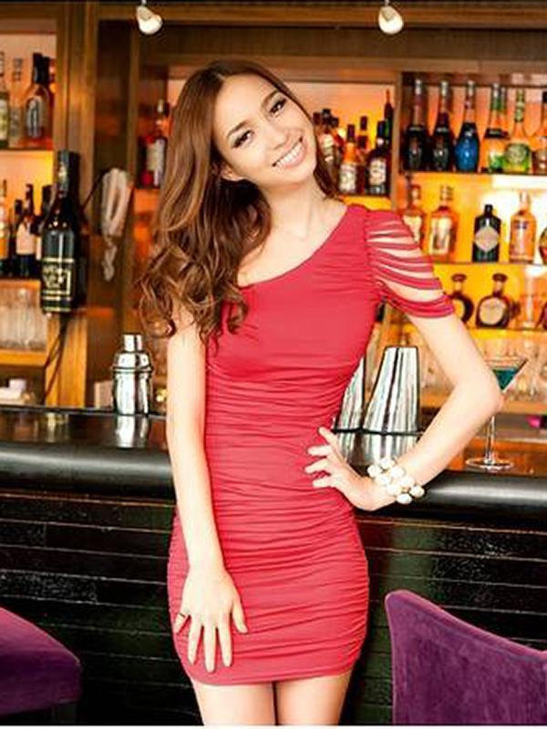 Sexy Sloping Shoulder OL Hip-hugger Dress Elegant Evening Dress Red