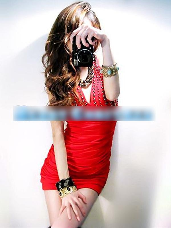 Hot Sale Sexy Deep V Neck Halter Dress Rivet Hip-hugger Slim Fit Dress Red
