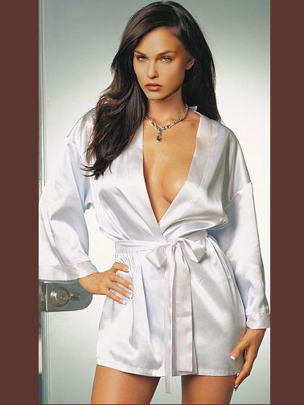 Tempting Sexy Long Sleeve Belt Closure Kimono Robe Lingerie Nightdress 9002 White