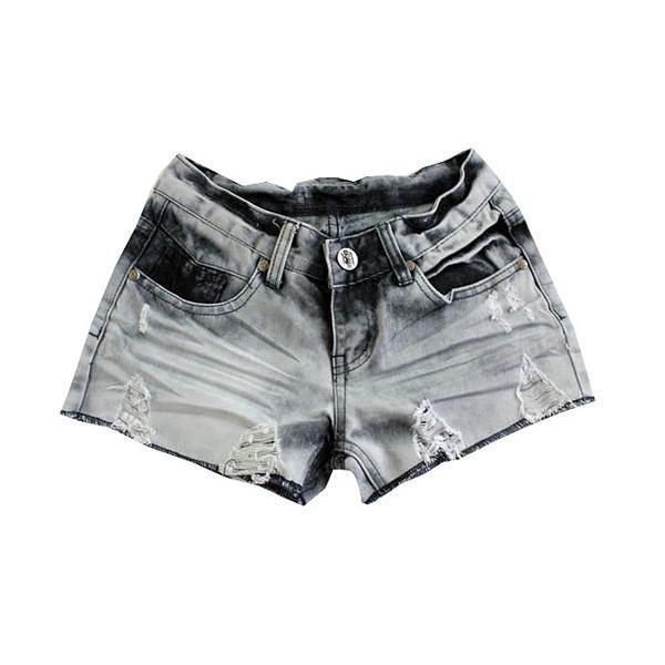Hot Pockets Lace Hang Dye Denim Shorts I0004 Grey L