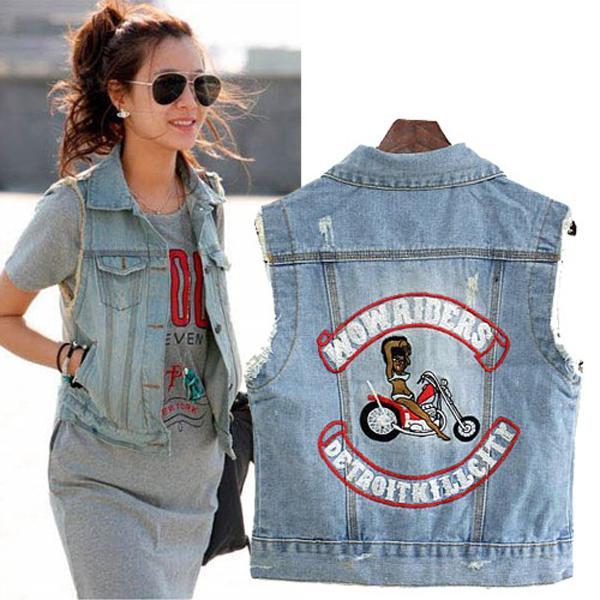 Trendy Cute Jeans Waistcoat Easier Match Sunshine Joker Waistcoat I0016 Blue L
