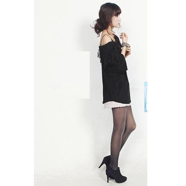 Sexy Show Thin Bright Silvery Silk Decoration Pantyhose - Black