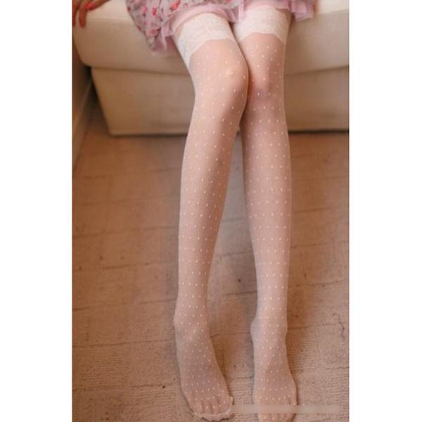 Sexy White Lace Jacquard Weave Subtransparent Pantyhose