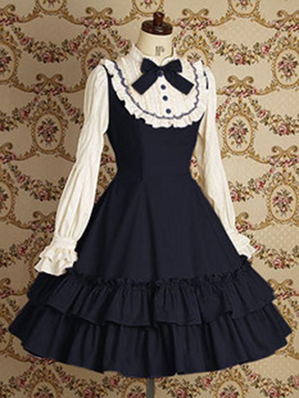 Hot Sale Customized Trendy Long Sleeves Cotton Hoopskirt Elegant Gothic Dress Sapphire
