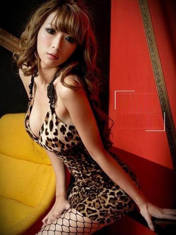 Super Sexy Womens Lace Deep-V Nightclub Braces Dress - Leopard