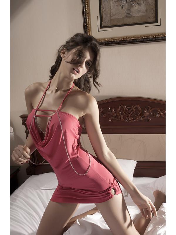 Womens Stylish Hanging Neck Chain Decorated Nightclub Dress - Hot Pink