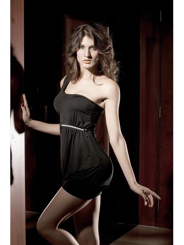 Sexy Womens One-shoulder Zip Decorated Crinkles Short Nightclub Dress - Black