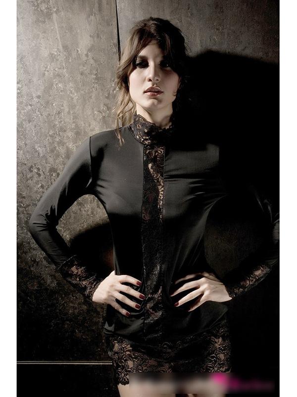 Womens Sexy Lace Highneck Long Sleeves Slim Fit Nightclub Dress - Black