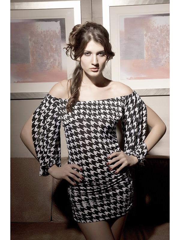 Long Sleeves Boat Neck Princess Dress Sexy Club Dress 2175# Black + White