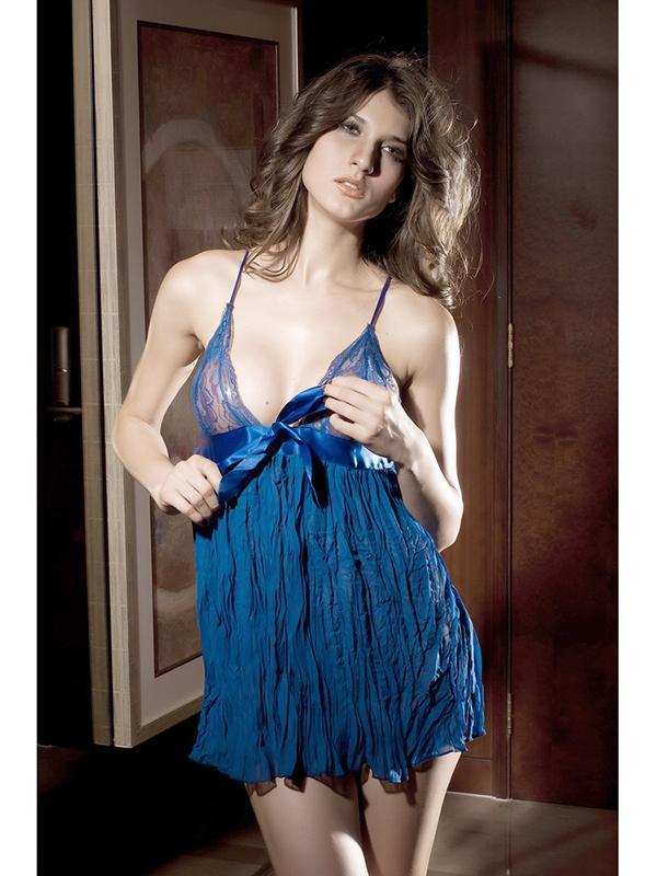 Super Sexy Deep-V Chiffon Pleated Sleepwear Nightgown - Blue