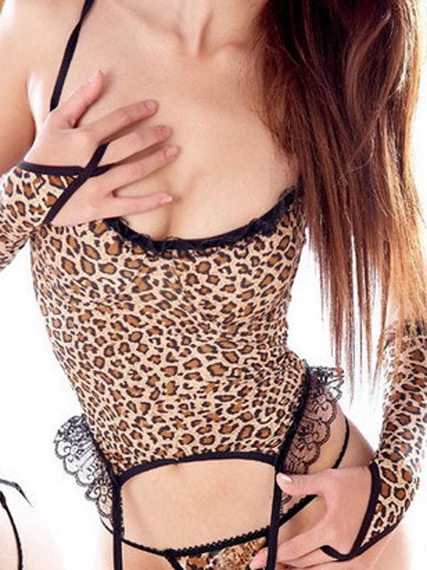 Seductive Sleepwear Gallus Sexy Lingerie Four Pieces 2246# Yellow Leopard