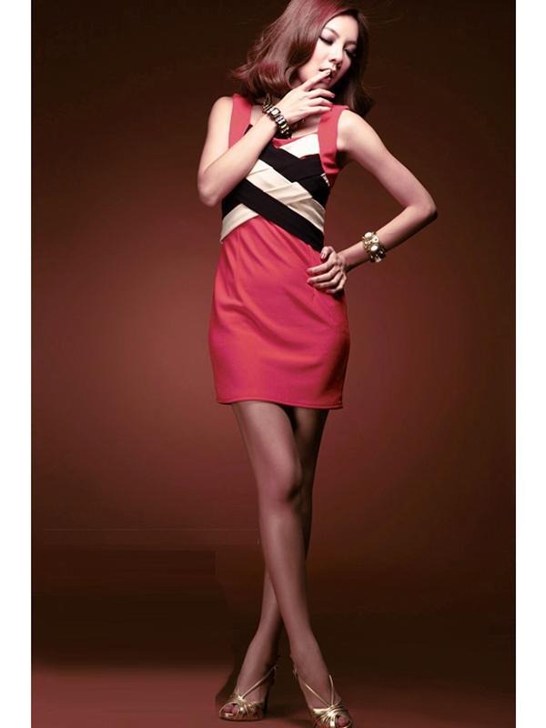 Elegant Contrastcolor Hip-hugger Dress B408210# Pink