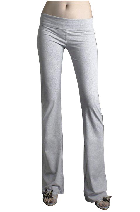 Women Causual Household Pants Elastic Fitness Yoga Pants Melang Gray S