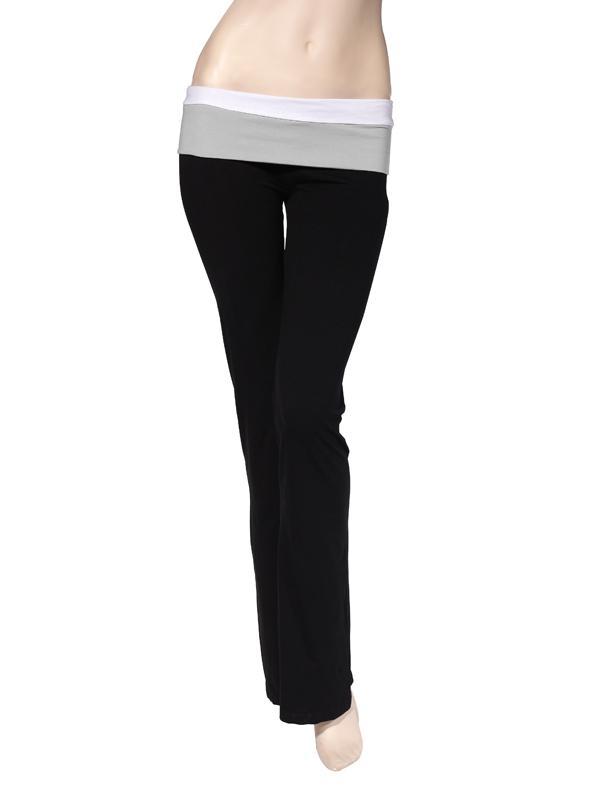 Women White Grey Matching Colors Waist Causual Household Pants Elastic Fitness Yoga Pants Black S