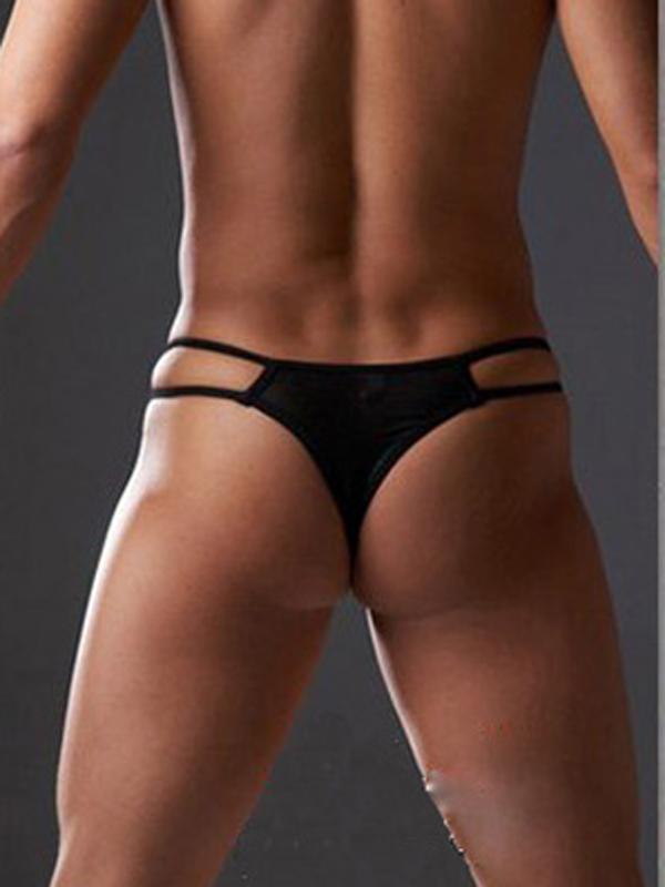 Men Sexy G-string Black T-back