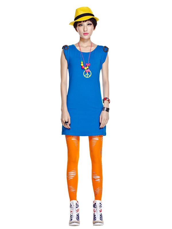 Women Fashion Ankle Length Legging Hollow Out Tight Pants Orange