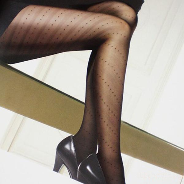 Sexy Diagonal Stripe Dots Jacquard Weave Pantyhose Black