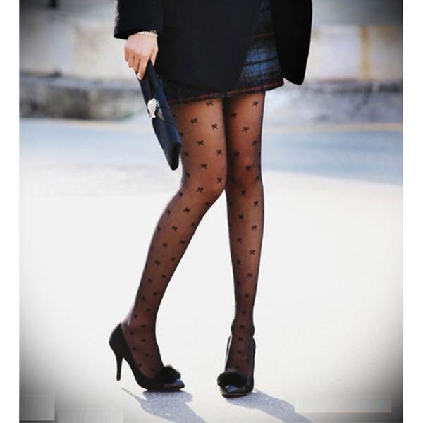 Sexy Bows Jacquard Weave Pantyhose Black