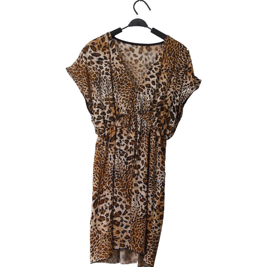 Sexy Elastic Bikini Smock Beachwear Dress Leopard