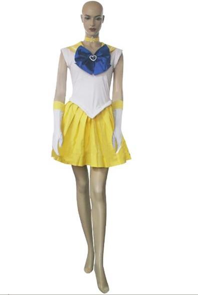 Sailor Moon Costume Sailor Mina Venus Cosplay Costume White + Yellow + Blue XL