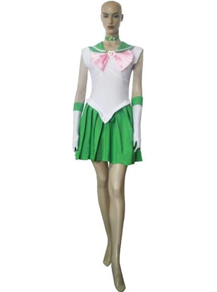 Sailor Moon Sailor Jupiter Lita Cosplay Costume XS White + Green + Pink
