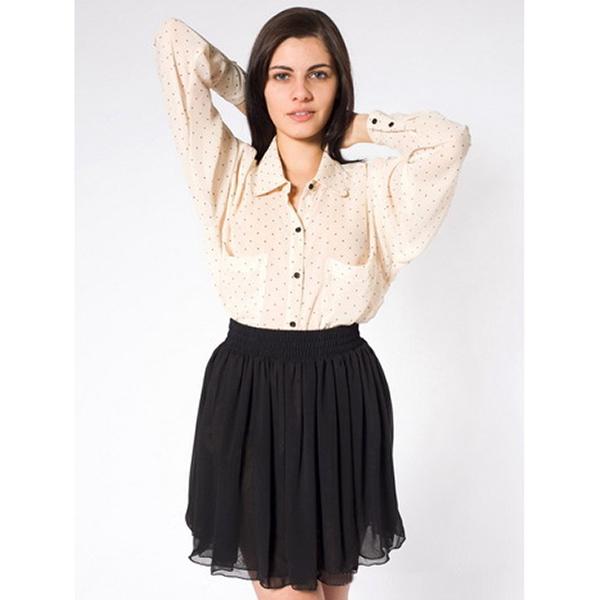 Women Empire Waist Chiffon Pleated Skirt Black