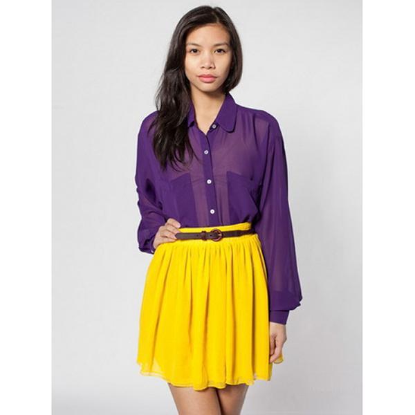Women Empire Waist Chiffon Pleated Skirt Yellow