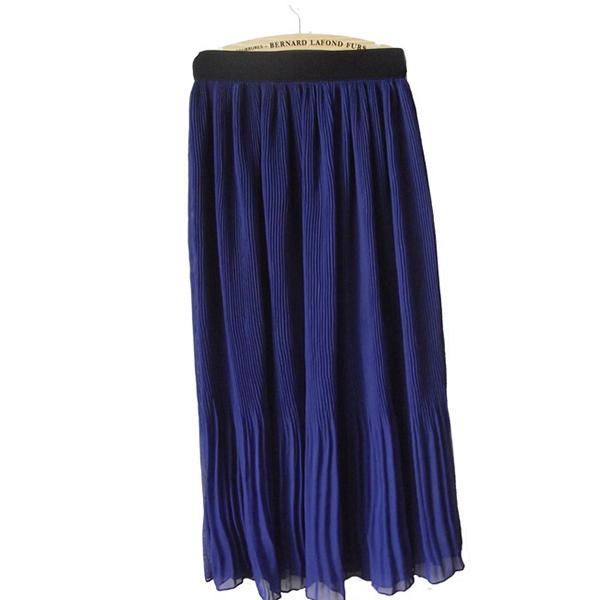Women Chiffon Long Pleated Skirt Sapphire