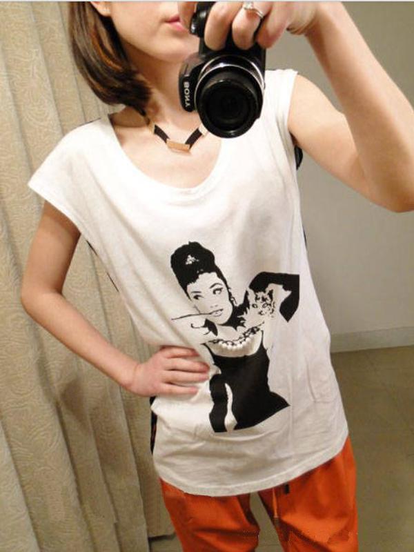 Seductive Beauty Cap Sleeves Tops Transparent Vertical Stripe Back T-shirt White + Black