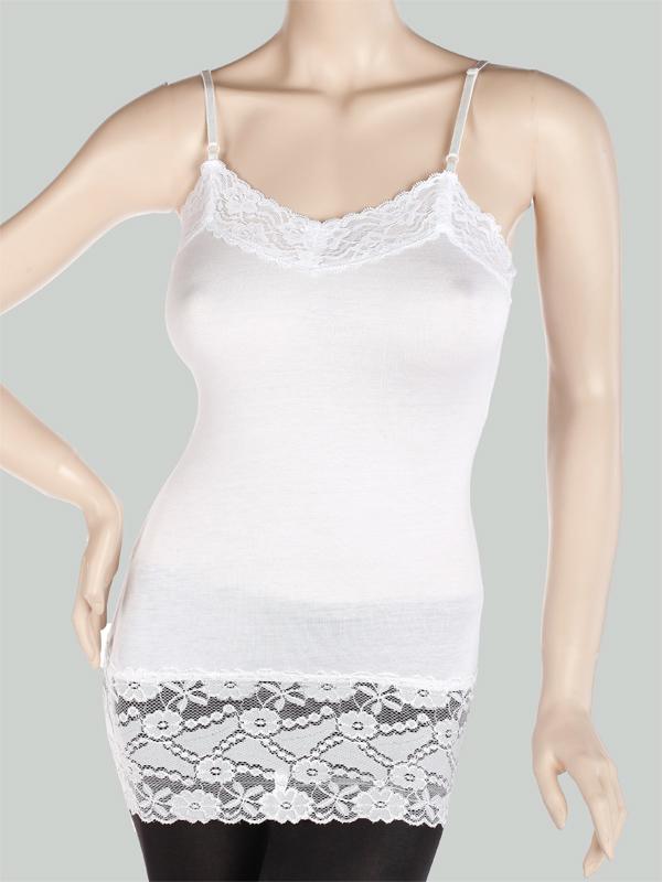 Cozy Basic Lace Trim Spaghetti Strap CAMI TANK TOP Plain Camisole TEE Size L - White