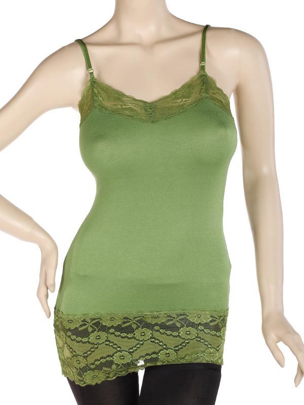 Cozy Basic Lace Trim Spaghetti Strap CAMI TANK TOP Plain Camisole TEE US 2-4 Olive green