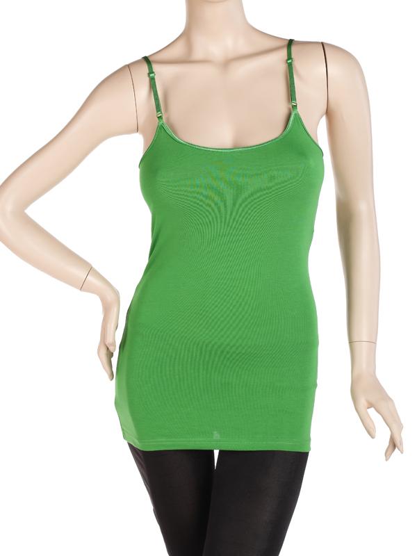 Long Spaghetti Strap Cami Camisole Tank Top w/ Shelf Bra Green US 12-14