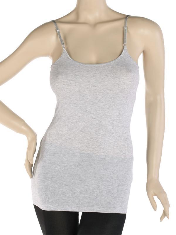 Hellgrau Einfarbiger Baumwolle Einfarbig Frauen Verstellbare Schultergurte Tank Top Leibchen Uns 8-10