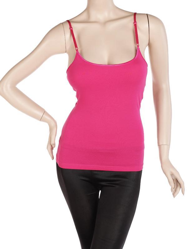 Spaghetti Strap Cami Camisole Tank Top w/Shelf Bra Deep Pink US 2-4