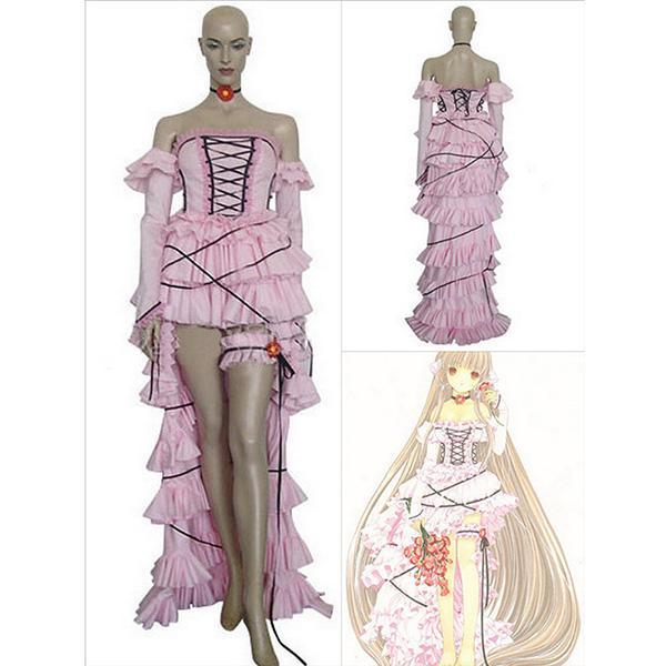 Nice Women Ribbon Irregular Hem Arm Sleeves Gothic Costume Dress Pink L