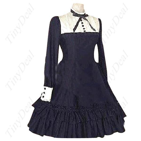 Nice Women Long Sleeves Buttoned Costume Dress Dark Blue XXL