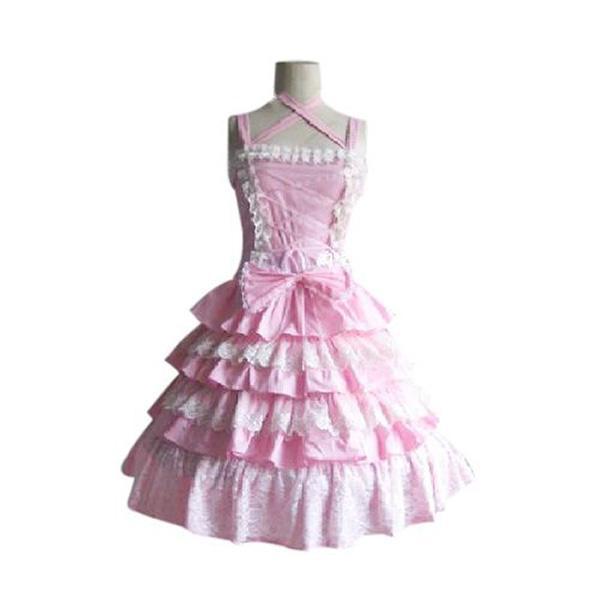 Nice Women Sleeveless Tiered Ruffle Costume Dress Pink S