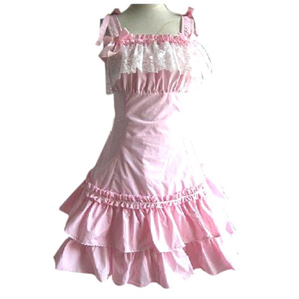 Nice Women Sleeveless Falbala Lace Costume Dress Pink XXL