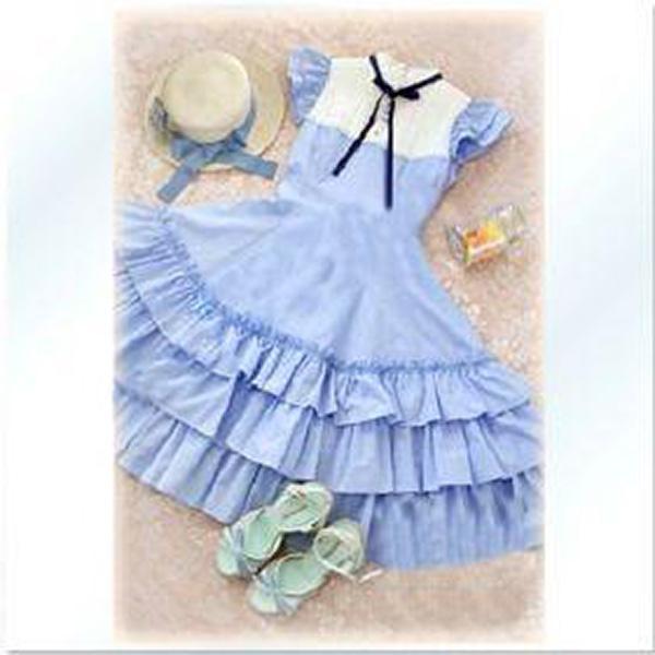 Nice Women Short Sleeves Falbala Costume Dress Blue XL