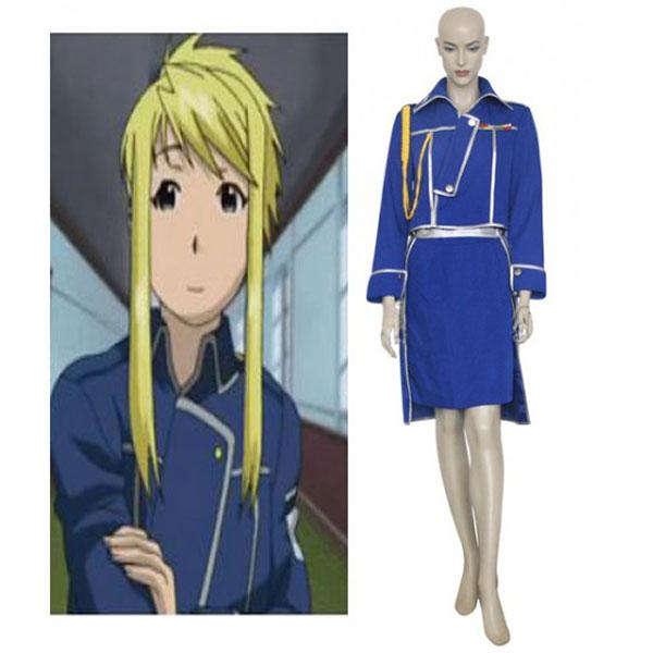 Fullmetal Alchemist Winry Rockbell Military Cosplay Costume Blue L