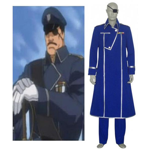 Fullmetal Alchemist King Bradley Cosplay Costume Blue XS