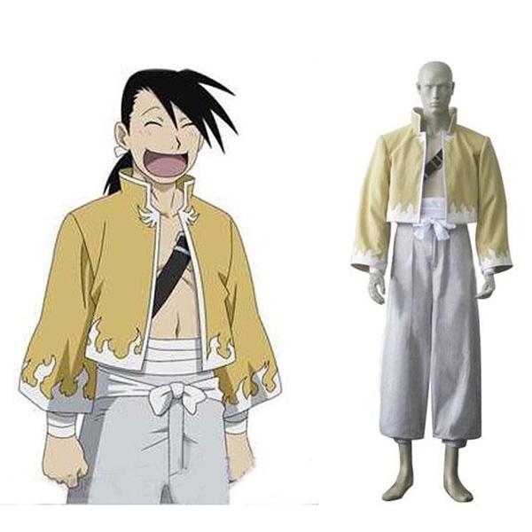 Fullmetal Alchemist Ling Yao Cosplay Costume Yellow + White M