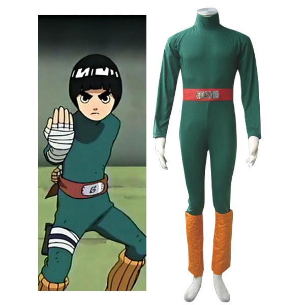Naruto Rock Lee Halloween Cosplay Costume Jumpsuit + Belt + Leggings S
