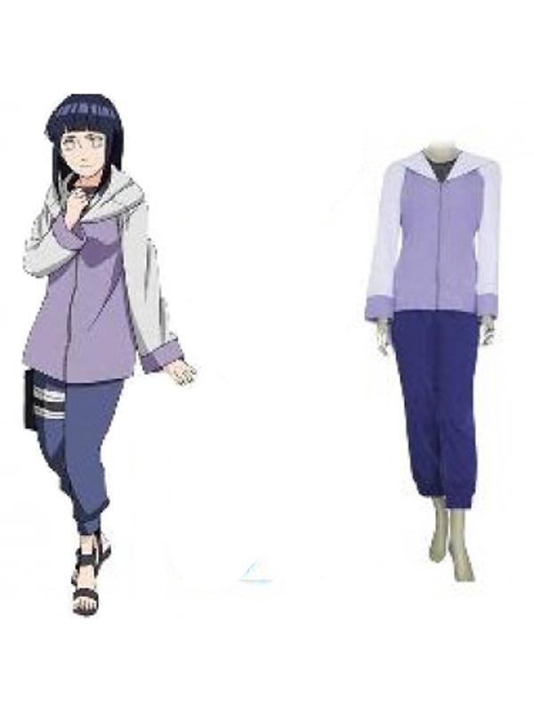 Naruto Shippuden Hinata Hyuga Cosplay Costume Purple + Blue M