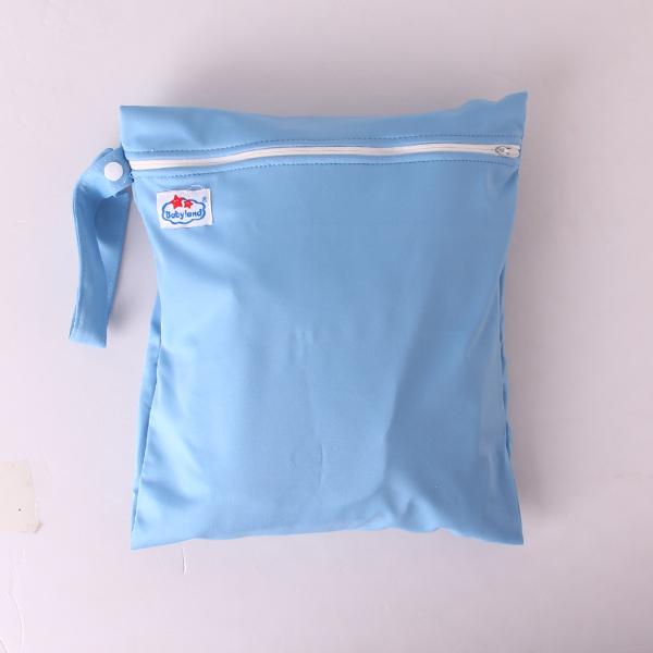 Waterproof Zipper Bag Washable Reusable Baby Cloth Diaper Bag Blue